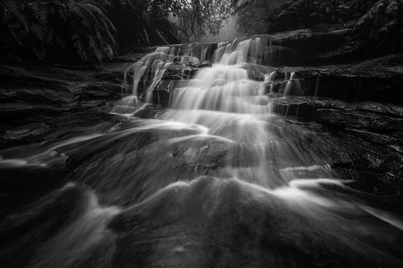 Leura Cascades black and white fine art landscape waterfall print