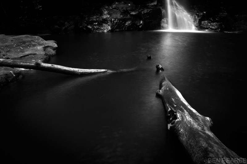 Minihaha Falls in Black and White