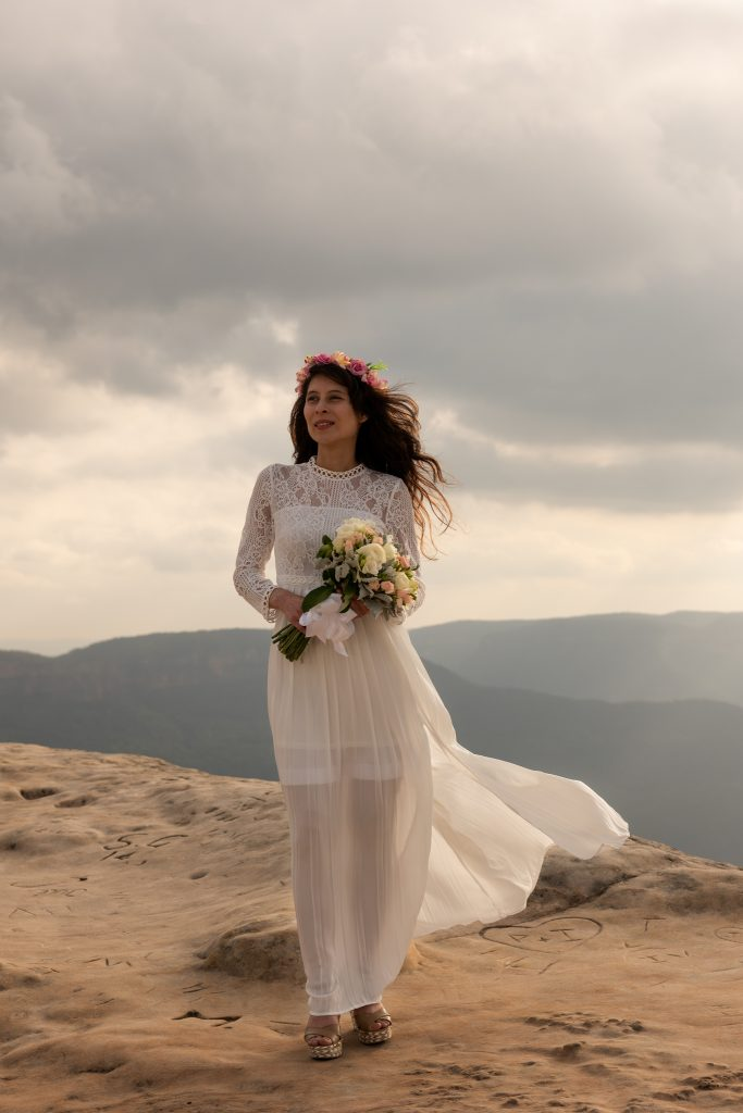 Wedding bride at Lincoln rock