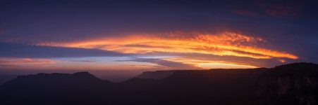Unframed Afterglow- Blue Mountains sunset panoramic