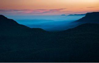unframed Jamison Glowing- Blue Mountains landscape print